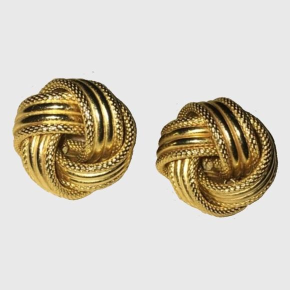 e91a82cd5490f Love Knot Earrings HUGE 14K Yellow Gold